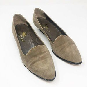 Delman Womens Loafer Flat Shoes Brown Leather